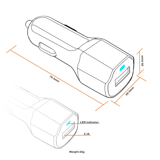 5V2.1A Single USB Car Charger Adapter