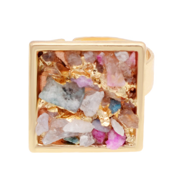 18k Gold Color Natural Square Drusy Crystal Rings