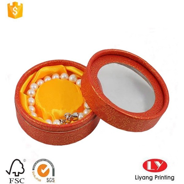 Round jewelry packing box with window