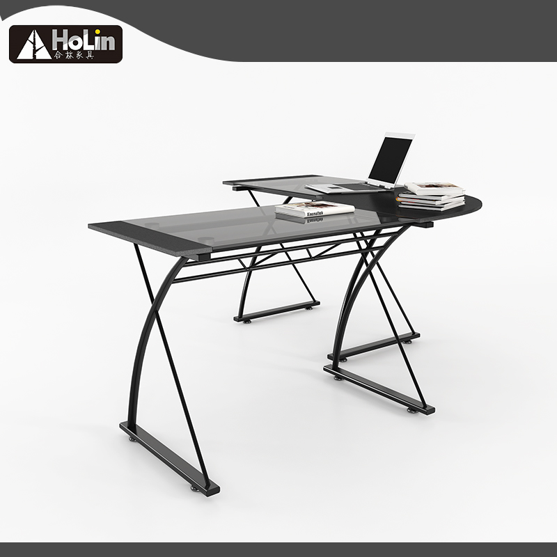 Modern L-Shaped Desk Corner Computer Desk PC Laptop Study Table Workstation Home Office Wood & Metal, Black