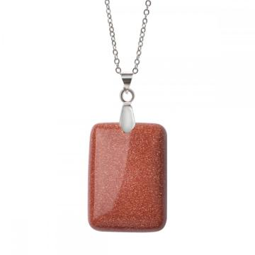 Natural Goldstone Women Chakra Rectangle Gemstone Pendant Necklace