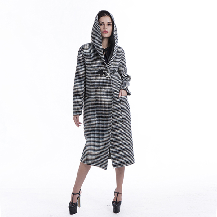Winter checked cashmere overcoat