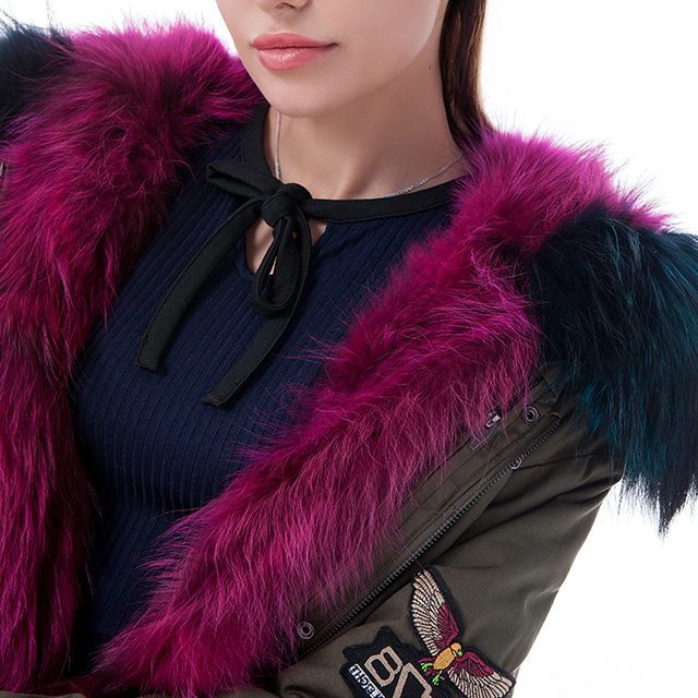 Purple fur cashmere winter coat