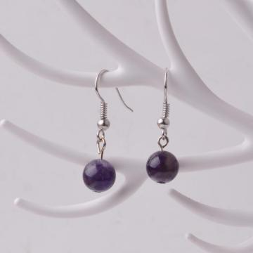 Amethyst 8mm Round Beaded Earrings Gemstone Healing