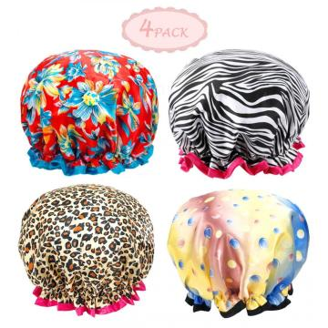 LADES 4 Pcs Pattern Design Shower Cap