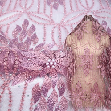 Wine Beaded Lace Indian 3D Lace Fabric