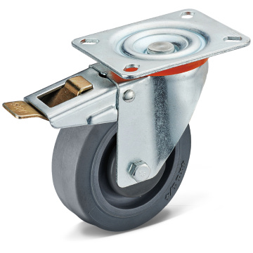TPR Flat Bottom Movable Split Double Brake Casters