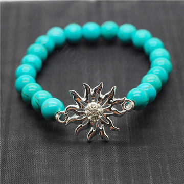 Turquoise 8MM Round Beads Stretch Gemstone Bracelet with Diamante alloy Sun Piece
