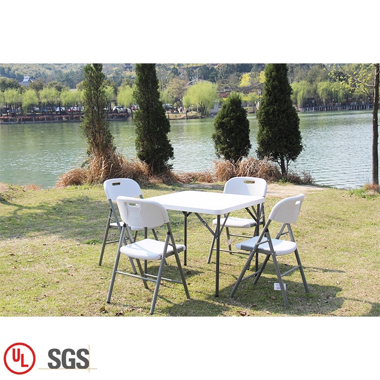 Folding Plastic Square Table 86cm White