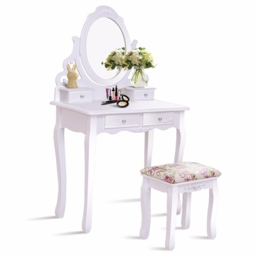 White Bathroom 4 Drawers Vanity Dressing Table Set Mirror make up table