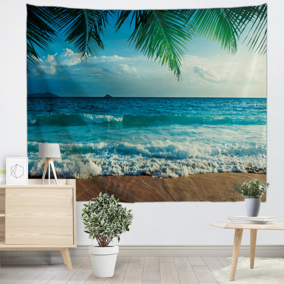 Sea Wave Blue Tapestry Palm Leaf Wall Hanging Beach Tropical Style Tapestry for Bedroom Home Dorm Decor