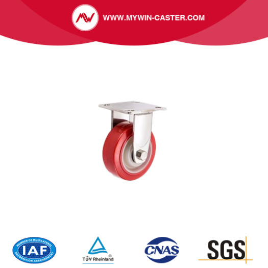 5 inch top plate rigid red PU on white PP stainless steel caster wheel
