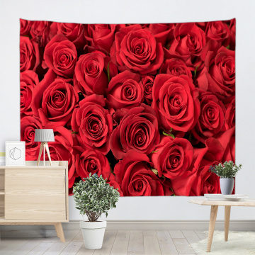 Rose Tapestry Wall Hanging Red Flower Wall Tapestry Nature Elegant for Livingroom Bedroom Dorm Home Decor