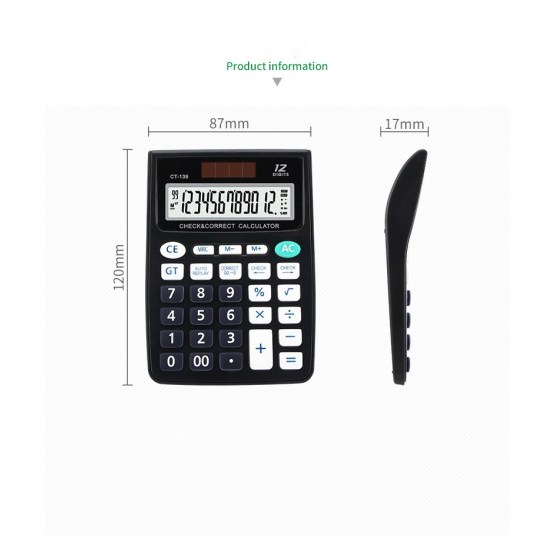 12 digits double display handeld calculator