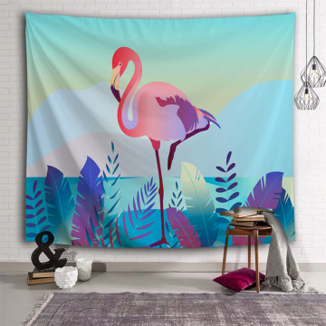 Flamingo Tapestry Plants Leaf Wall Hanging Blue Tropical Garden Tapestry for Livingroom Bedroom Home Dorm Decor