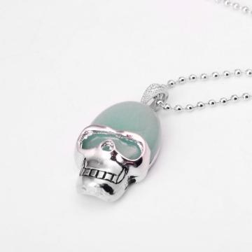 Green Aventurine Skull Gemstone Pendant Necklace with Silver chain