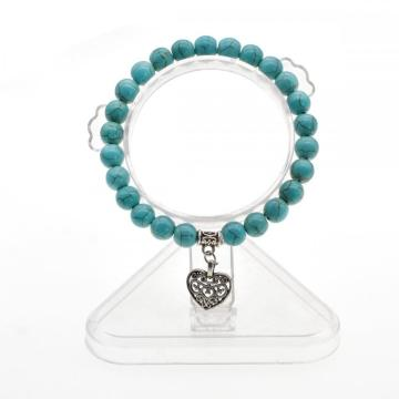 Natural Turquoise Chakra Gemstone 8MM Round Beads Charms Bracelet with Heart Alloy