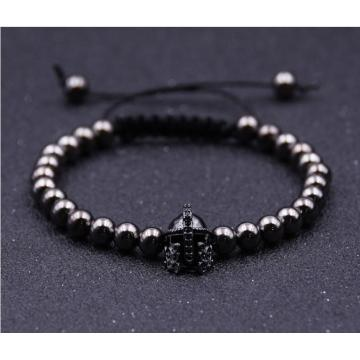 2018 New Fashion Black Knight Helmet Hematite 6MM Round Beads Bracelet For Gift
