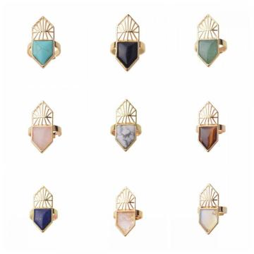 Gold Natural Hexagonal Gemstone Beads Engagement Women Shied Rings
