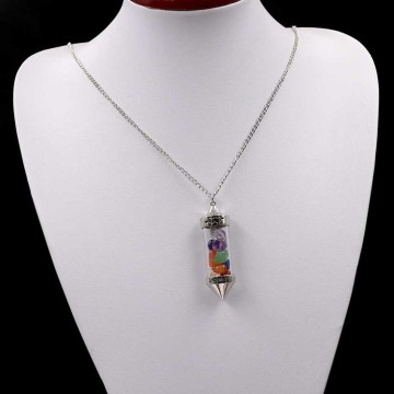 Healing Stone Chip 7 Chakra Pendulum Crystal Pendant Necklace with 80cm Chain Wish Bottle Necklace Dowsing Amulet