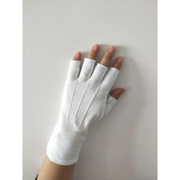 Cotton Half Finger White Gloves