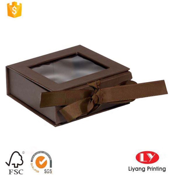 book shaped cardboard gift box with window&ribbon