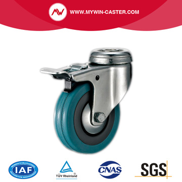 3'' Bolt Hole Grey Rubber Caster with Brake