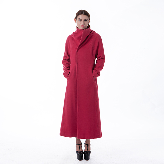 Fashion long red cashmere overcoat