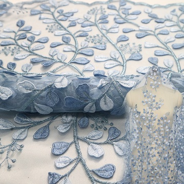 Sky Blue Africa Lace Fabric Flower Embroidery Lace