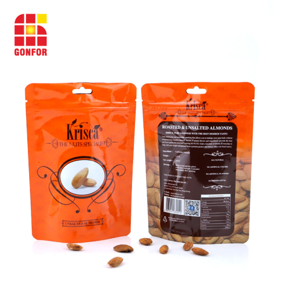 Aluminum Pouch For Nuts Almonds Packaging With Butterfly hole