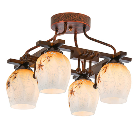 Wooden Plant Hanging Light Glass ceiling lamp
