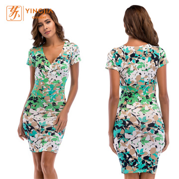 Women Fit Sexy Floral V-neck Print Pencil Dresses