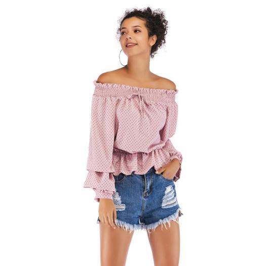 Ladies Off-Shoulder Chiffon Puff Sleeve Sexy Tops