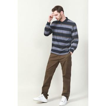 Men's Yarn Dye Stripe Long Sleeve Polo Shirt