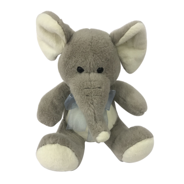Plush Sitting Elephant Gray Toy