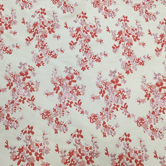 Red Wine Flower Print Jacquard Farbic