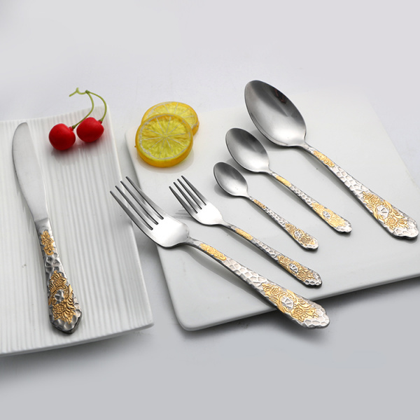 Royal Style Stainless Steel Gold Plated Dinnerware Set