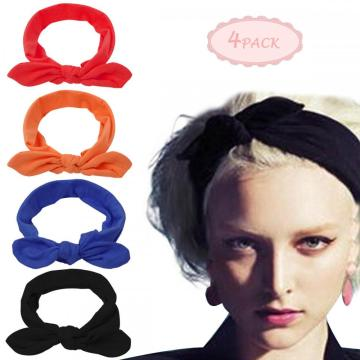 Womens Soft Crochet Bow Twist Hair Band