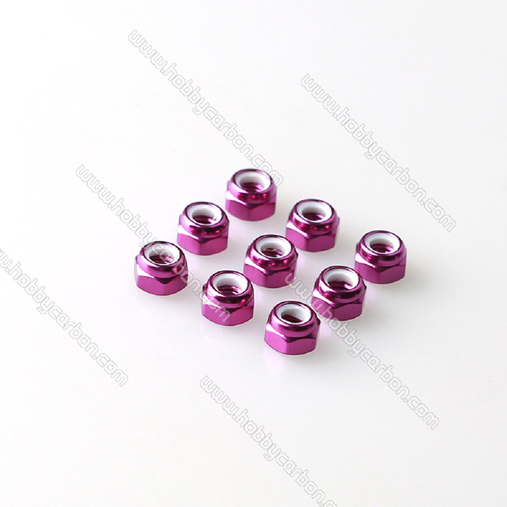 M3 aluminum lock nut purple