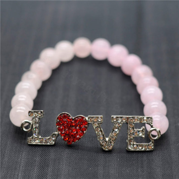 Rose Quartz 8MM Round Beads Stretch Gemstone Bracelet with Diamante Love Piece