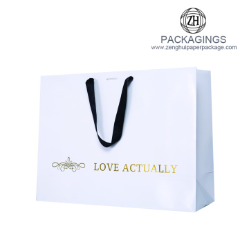 Luxury Handmade Hot Stamping White Shopping Bag