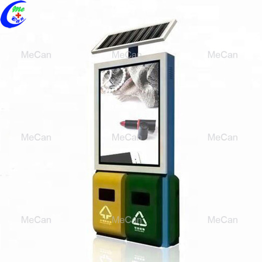 Sided solar outdoor advertising trash bin light box