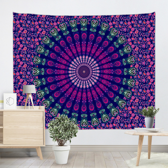 Bohemian Tapestry Mandala Wall Hanging Indian Style Boho Psychedelic Tapestry for Livingroom Bedroom Home Dorm Decor Purple