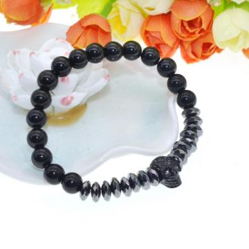 Fashion Black Natural Stone Crystal Bracelet Skull 8mm Bead Stainless Steel Bracelet