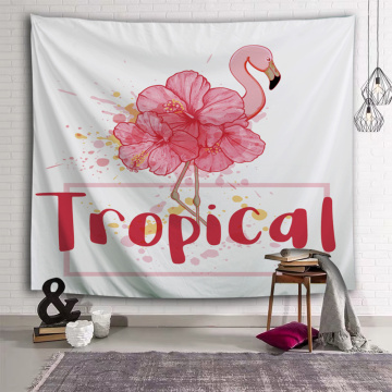 Flamingo Tapestry Flower Tropical Theme Wall Hanging Pink Vintage Tapestry for Livingroom Bedroom Home Dorm Decor