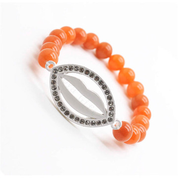 Red Aventurine Gemstone Bracelet with Diamante Lip Piece