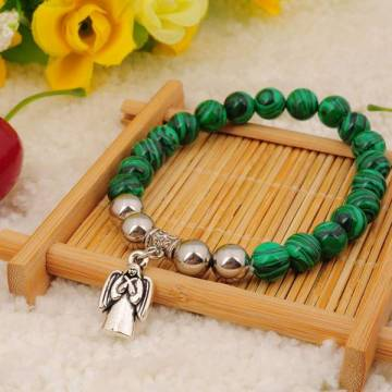 Natural Malachite Bracelet Gemstone Beads jewelry alloy pendants