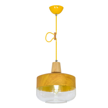 Single Glass With Wood Pendant Lamp For Restaurant