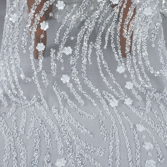 MX718 tulle net mesh  sequin embroidery