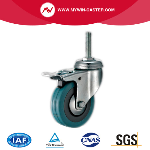 Threaded Stem Grey Rubber Caster with Brake